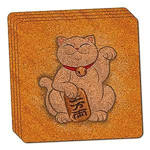 Lucky Beckoning Cat Maneki Neko Fortune Japanese Kawaii Thin Cork Coaster Set of 4