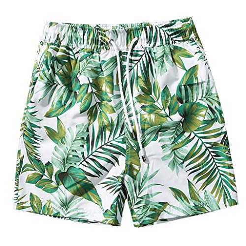 Pongfunsy Men's Quick Dry Swim Trunks with Pockets Long Elastic Waistband Beach Holiday Bathing Suits with Mesh Liner Green