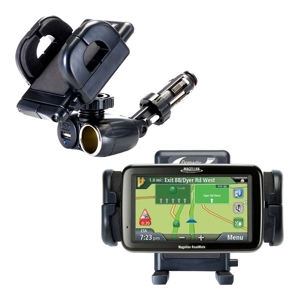 Unique Auto Cigarette Lighter and USB Charger Mounting System Includes Adjustable Holder for the Magellan Roadmate 3065 Commuter