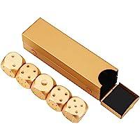 Juego de dados de metal Juegos de dados poliédricos , Juego de mesa de aleación de aluminio 5pcs Juego de dados de dados con cuadro de almacenamiento cuadrado / rectangular Plata / Oro(rectángulo-oro)