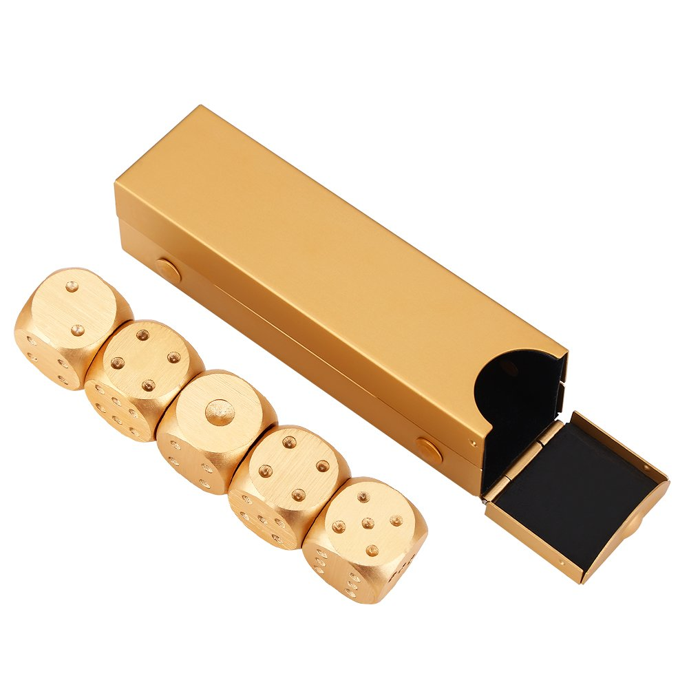 【テレビで話題】 Precisionアルミニウム合金DiceソリッドメタルダイスセットテーブルゲームダイスゲームDices Pokerセットwithケース5点 Gold-Rectangle Box B076BNZ9JJ B076BNZ9JJ Gold-Rectangle Box Gold-Rectangle Box, BLUESKY オンラインショップ:fb7bee44 --- arianechie.dominiotemporario.com