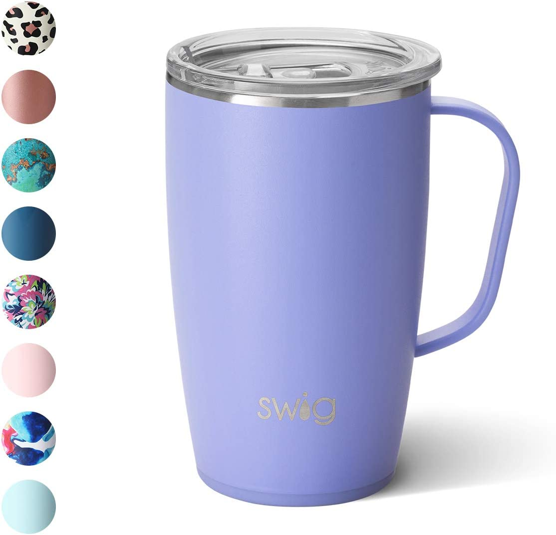 Swig Life 18oz Triple Insulated Travel Mug with Handle and Lid, Dishwasher Safe, Double Wall, and Vacuum Sealed Stainless Steel Coffee Mug in Matte Hydrangea (Multiple Patterns Available)