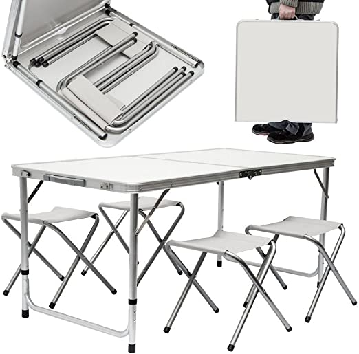 BAKAJI Mesa Camper Camping Picnic Aluminio Plegable a maletín para ...