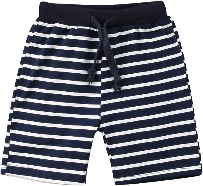 SUNSIOM Little Kids Toddler Boys Girls Summer Shorts 3-Pack Cotton Shorts