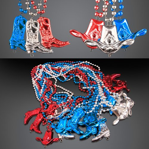 Red White & Blue Cowboy Boots & Hat Beaded Necklaces (Set of 72) -