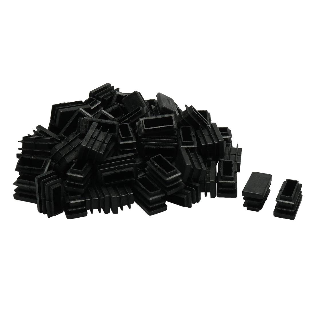 uxcell 100pcs 25 x 50mm Plastic Rectangle Ribbed Tube Inserts End Cover Cap Furniture Glide Chair Desk Feet Floor Protector