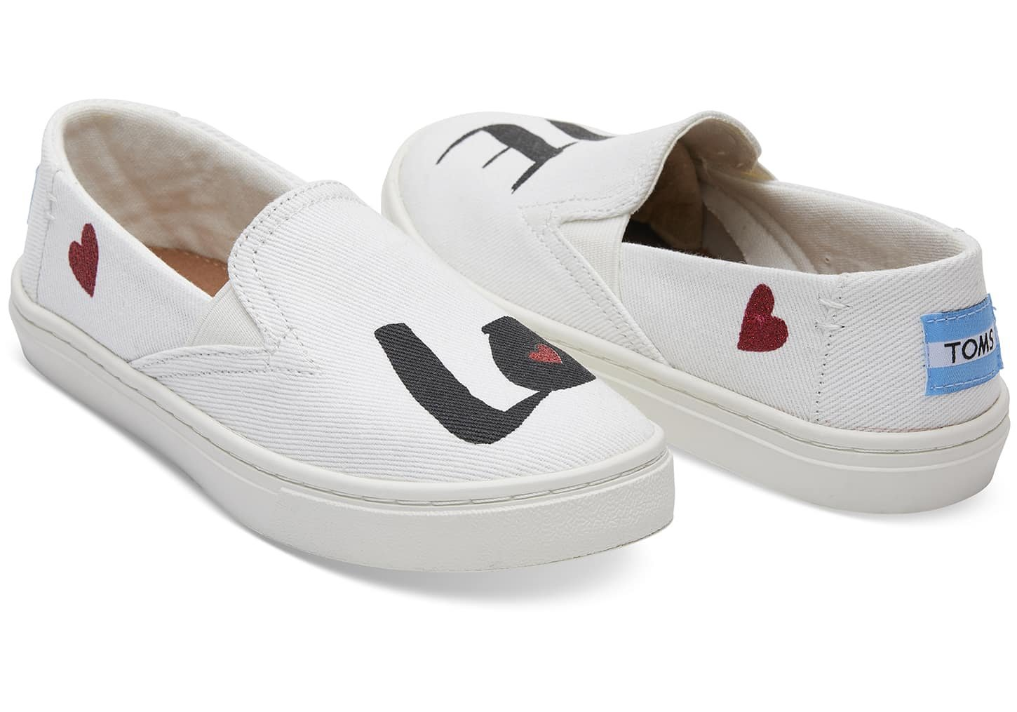 TOMS Youth Luca Slip Ons White Denim Love 10011482 Youth Size 5.5 by TOMS Kids (Image #2)