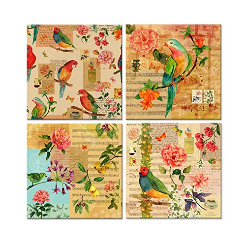 Hello Artwork - Watercolor Canvas Prints Victorian Bird Rose Flowers Aged Paper Sheet Music Picture Vintage Style Collage Background Wall Art Painting On Canvas (12''x12''x4pcs/set) (Bird Paintings Vintage)