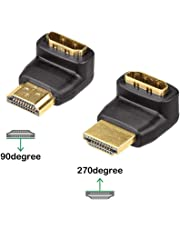 VCE Combo 3D&4K Supported HDMI 90 Degree and 270 Degree Right Angle Male to Female Adapter