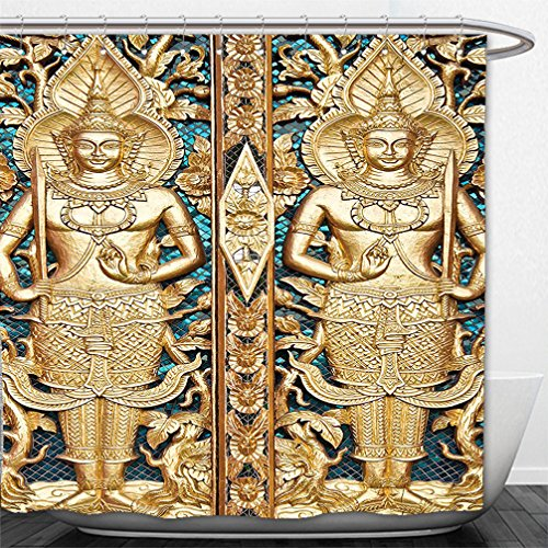 Interestlee Shower Curtain Rustic Decor Collection Thai Gate at Wat Sirisa Tong Thailand Buddhism Architecture History Spiritual Picture Golden Teal by Interestlee