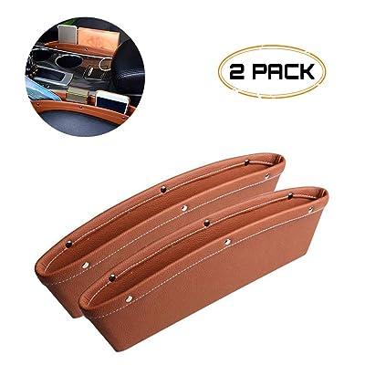 Car Seat Gap Filler, WITSKICH 2 Pack Universal Car Pocket Organizer, PU Full Leather Car Front Seat Storage, Car Interior Accessories, Car Seat Side Caddy Catcher - Brown: Automotive