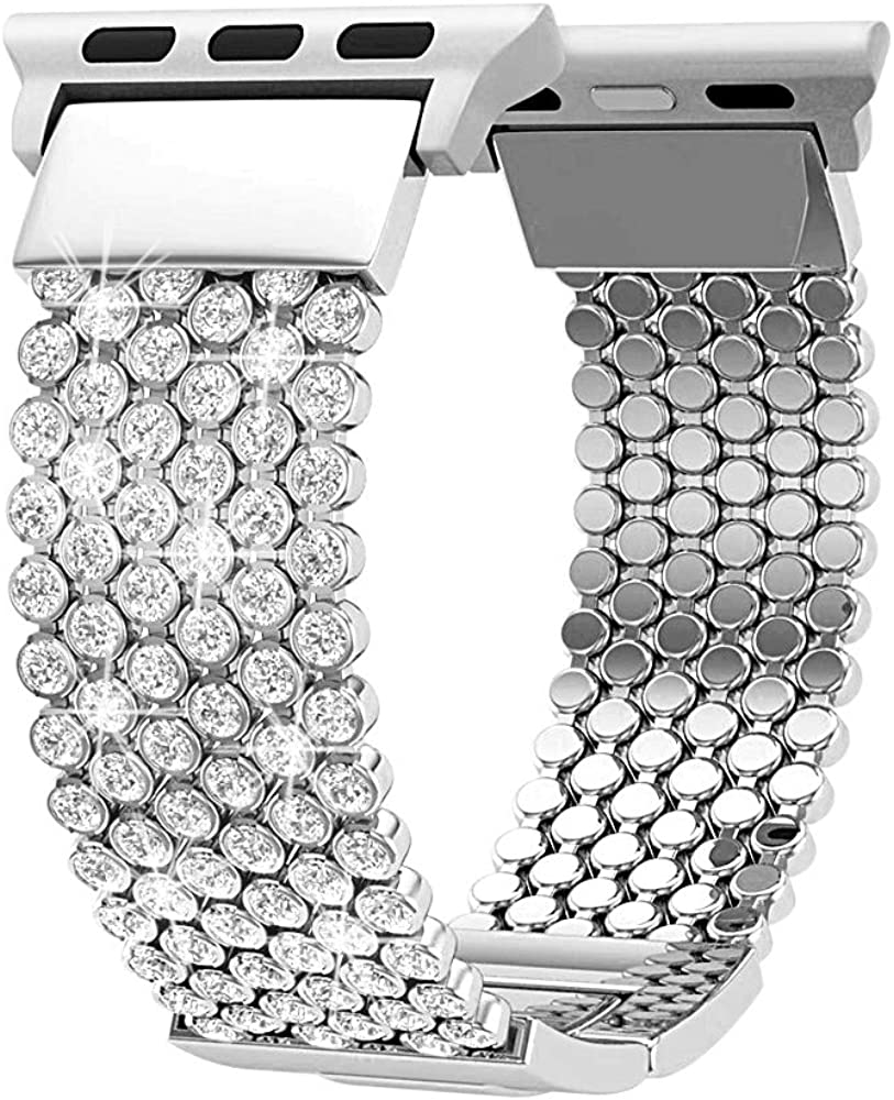 Compatible with Apple Watch Band 40mm 38mm 42mm 44mm iWatch Bands Series 6 5 4 3 2 1 Women Girls, Crystal Rhinestone Replacement Strap, Fresheracc Mesh Chain Jewelry Wristband