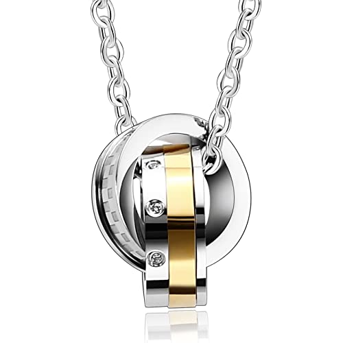 Beydodo collar de acero inoxidable para mujer hombre anillos entrelazados 4 tonos Puzzle colgante para parejas