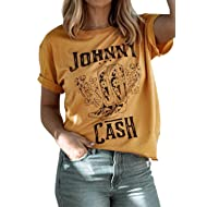 Womens Casual Funny Graphic T-Shirt Vintage Letter Graphic T Shirt Country Music Party Blouse Short Sleeve Tees