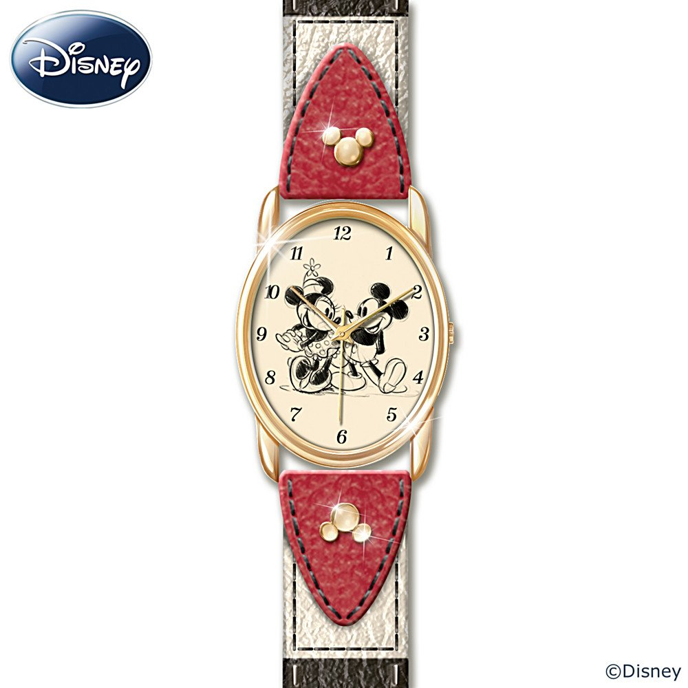 Disney Timeless Love Leather Watch Featuring Mickey Mouse And Minnie Mouse by The Bradford Exchange