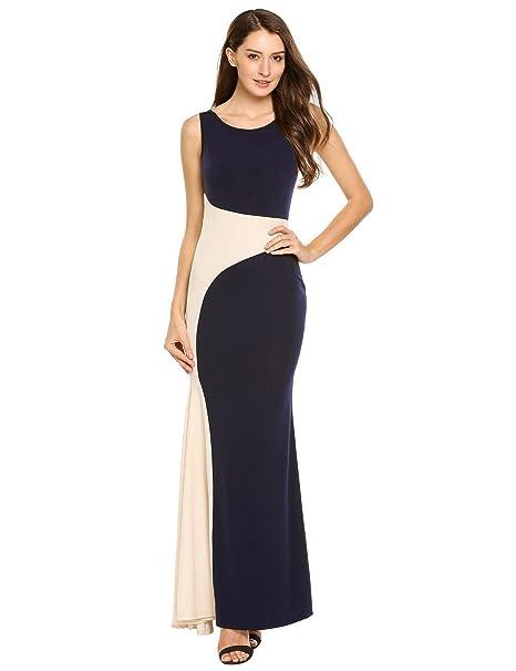820825cb48b55 AL'OFA Women's Elegant Sleeveless Colour Block Slim Ruched Evening Maxi  Dress