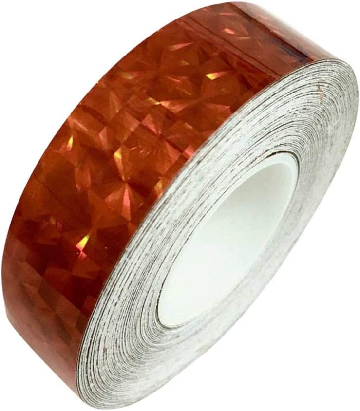 Tape 1.2cm x 18m Square Glitter Sparkle Holographic Prism Lure Tape for Gift Packing for Home Red