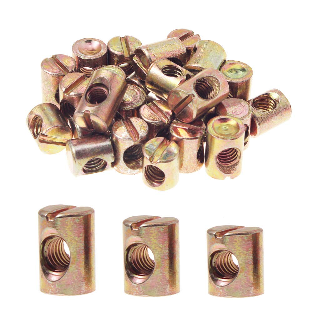 pack de 20 M8/x 30 zinc Cruz Dowel Barril Tuercas agujero de centro