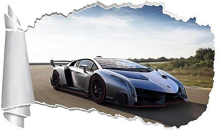 Amazon Com Lamborghini Veneno Car 3d Torn Hole Ripped Wall Sticker