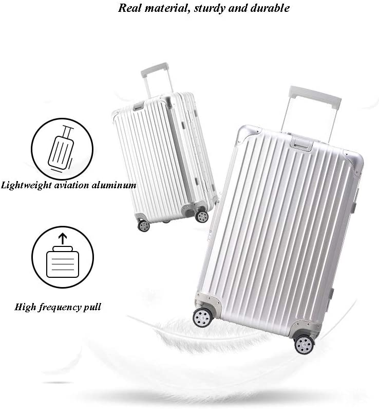 Xinqing All Metal Aluminum-Magnesium Alloy Trolley Case Universal Wheel Female Net Red Suitcase 20 Inch Business Suitcase Hard Color Black Silver Size 473520cm Best Choice Product Color : Black