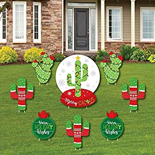product image for Big Dot of Happiness Merry Cactus - Yard Sign and Outdoor Lawn Decorations - Christmas Cactus Party Yard Signs - Set of 8