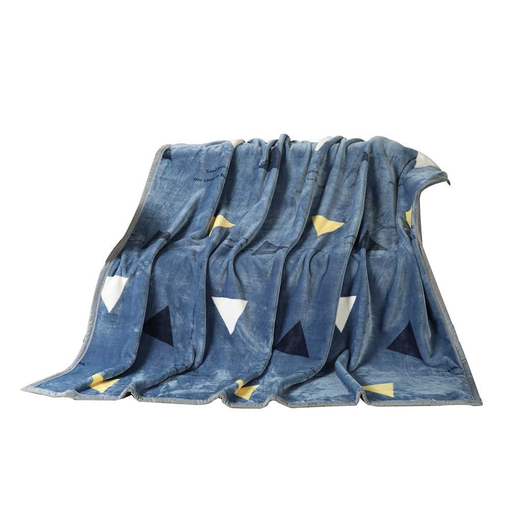 ホテルの毛布、寝室の青い印刷両面毛布バルコニー屋外で車の学生寮の部屋のソファー毛布 (サイズ さいず : 180*200CM) B07MY1C95W  180*200CM