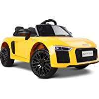 RIGO Kids Ride On Toy Car Licensed Audi R8 Electric Car 12V Battery Remote Control-Yellow