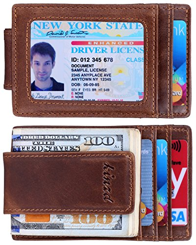 Money Clip, Front Pocket Wallet, Leather RFID Blocking Strong Magnet thin Wallet - Folding Money Clip