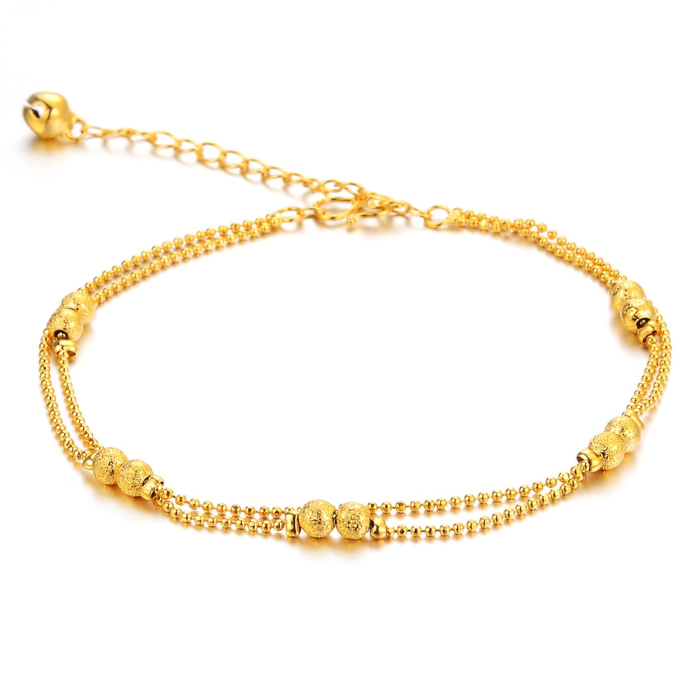 Women's Anklet Bracelet 18k Gold Plated Double Row Beads Grind Arenaceous Bead Pendants Foot Chain Adjustable L7.87''