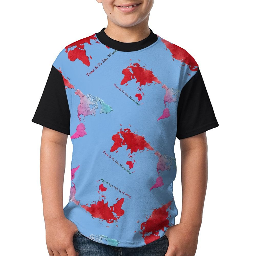 Travel is to Live World Map2 Youth Cute T-Shirts 3D Graphic Short Sleeved Tees