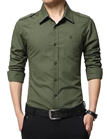 ac4fe063b Idopy Men`s Military Style Twill Slim Fit Workwear Work Shirts Army Green  Asian XL US S: Amazon.co.uk: Clothing