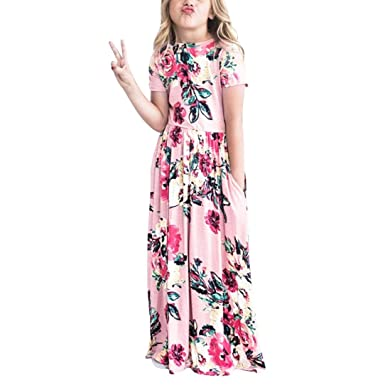 ecd7496e9 Amazon.com: Rucan Girls Dress, Girls Floral Flared Pocket Maxi Short Sleeves  Casual Elegant Summer Holiday Long Dress: Clothing