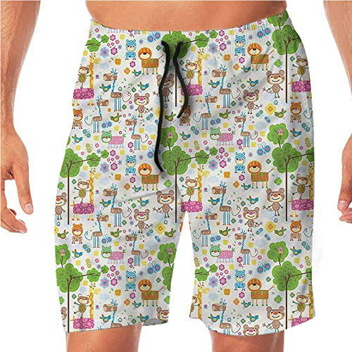 Quick-Dry Beach Shorts for Men Kids,Happy Jungle Zoo Animals Workout Shorts XL