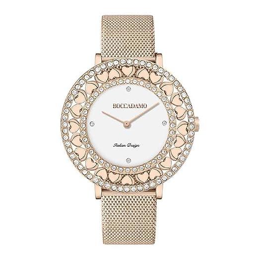 boccadamo - Reloj Rosa, con Esfera Blanca, Swarovski y Corazones: Amazon.es: Relojes