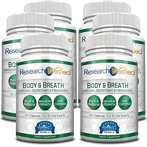 Research Verifed Body & Breath Natural Deodorant & Freshner - #1 Bad Breath & Body Odor Supplement - Provides Relief from Offensive Smells While Balancing Good Bacteria - 6 Bottles (6 Months Supply) by Research Verified