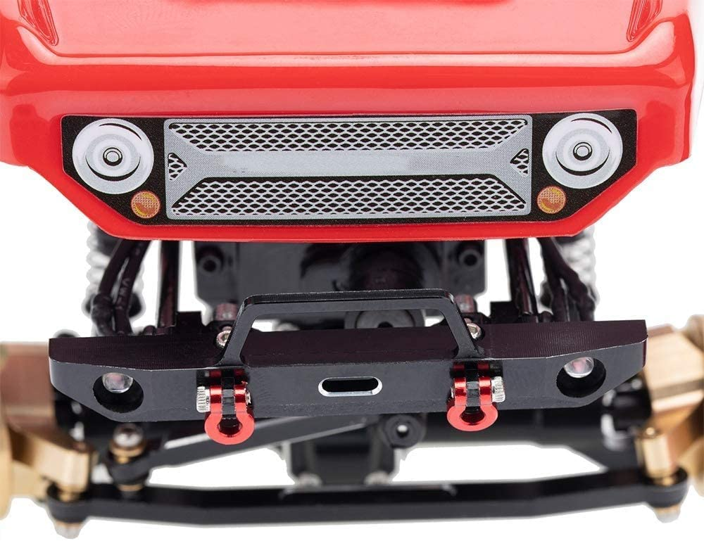 RC Metal Aluminum Front Bumper with U-Rings Tow Hitch Shackles for 1//10 RC Crawler Axial SCX24 AXI90081 Upgrades Parts