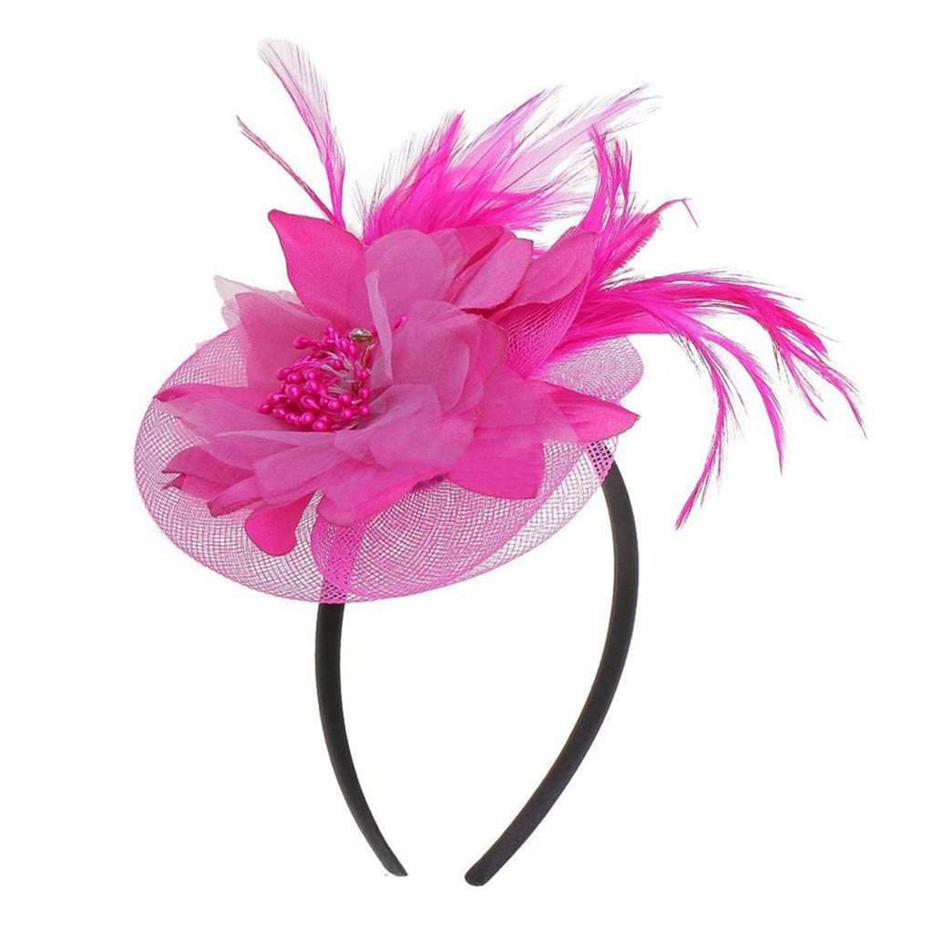 Yamalans Women Feather Fascinator Floral Veil Hairband Bridal Headwear Party Stage