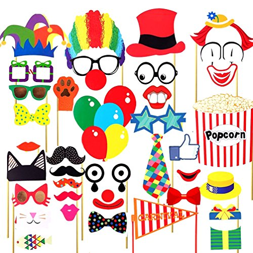 COOLOOdirect 36 Pcs Attached Photo Booth Props ,Diy Kit For Party Favors for Wedding Birthday Carnival Bachelorette Acessories Party