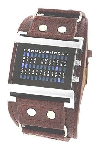 Reloj digital luz azul nocturna ejercicios cinta marrón: Amazon.es: Relojes