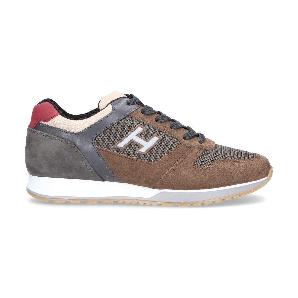 - Hogan Men's HXM3210Y861KEH75TR Brown Leather Sneakers