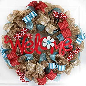 Summer Welcome Wreath | Jute Burlap Spring Wreath | Wedding Gift | Red Turquoise Teal White 11