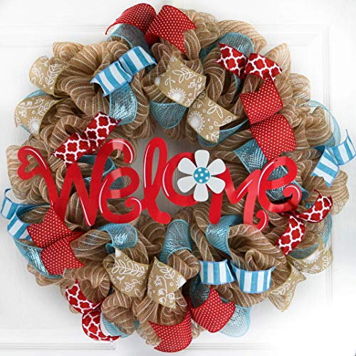 Summer Welcome Wreath | Jute Burlap Spring Wreath | Wedding Gift | Red Turquoise Teal White -