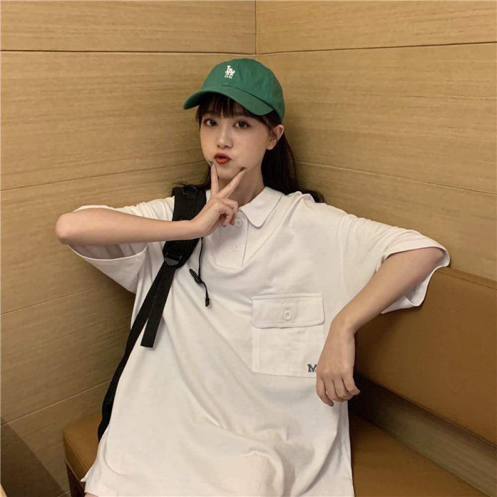 ZZAI Top Allentato Moda - T-Shirt Manica Corta Colletto Polo Ricamato Lettera Donna,White White