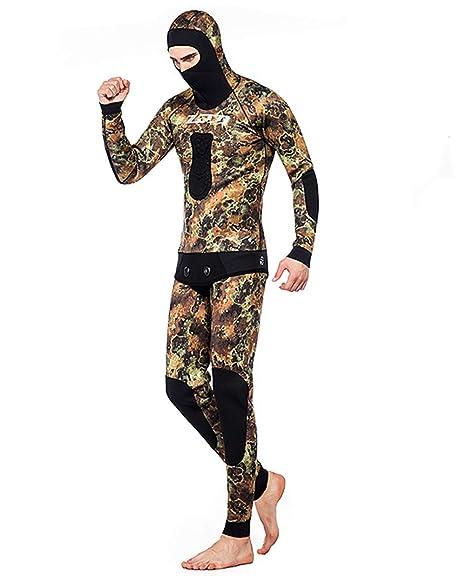 ZCCO Camo Hoodie Wetsuits Mens 3.5MM Neopreno Buceo De Dos Piezas Piel Deportiva Pesca Submarina Traje De Buceo De Cuerpo Entero,3,L