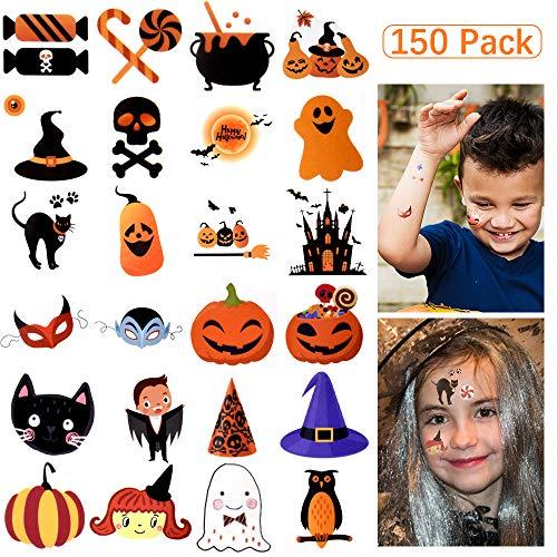 Halloween Face Tattoo Designs (Temporary Tattos Kids, 150 Assorted Halloween Tattos Waterproof Cute Designs Stick on Children Tattoos, Pumpkin Tattoos Stickers for Kids Children Party)