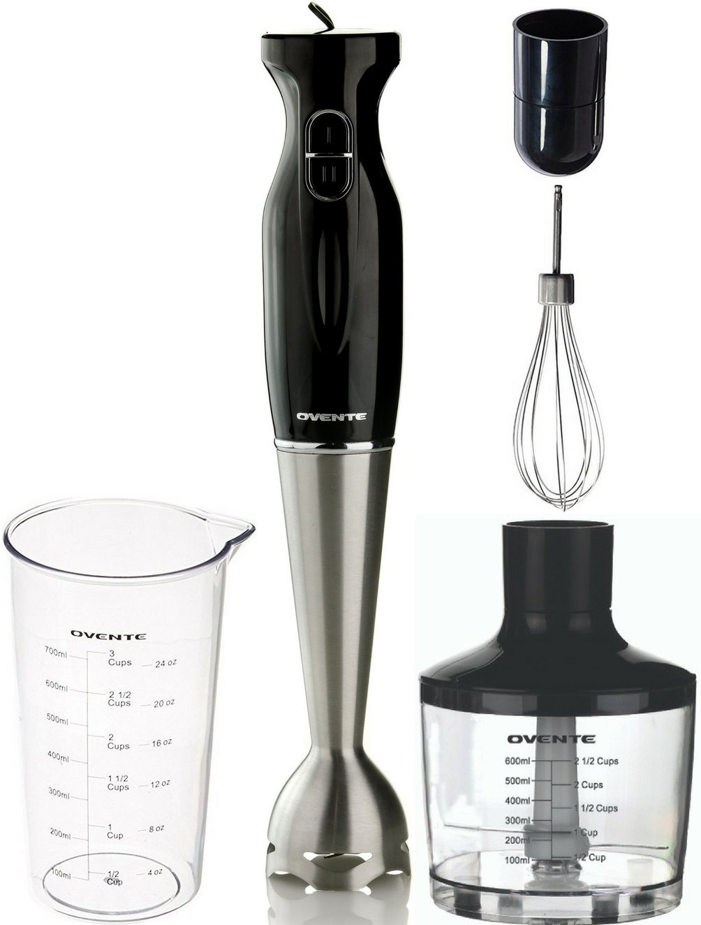 Ovente Multi-Purpose Immersion Hand Blender Set – 300-Watts, 2-Speed – Stainless Steel Blades and Detachable Shaft – Includes Food Chopper, Egg Whisk, and BPA-Free Beaker (24 oz) – Black (HS585B)
