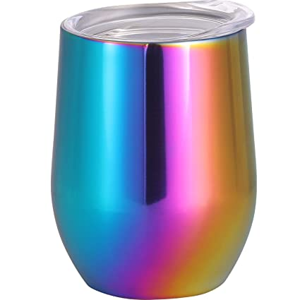 9028ef41984 Skylety 12 oz Double-insulated Stemless Glass Wine Tumbler, Stainless Steel  Tumbler Cup with