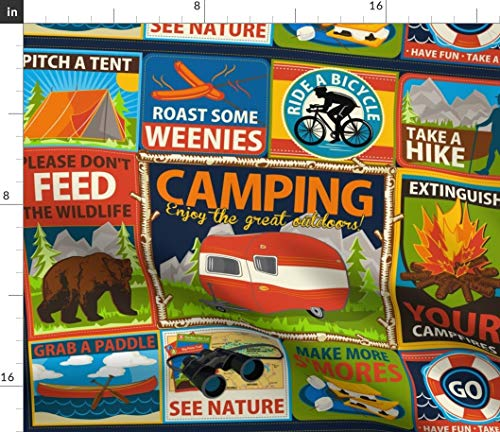 Camping Fabric - Camping Patches Summer Vacation Camp Outdoors Camping Outdoors Vacation Sports Wildlife by Retrorudolphs Printed on Linen Cotton Canvas Ultra Fabric by The Yard