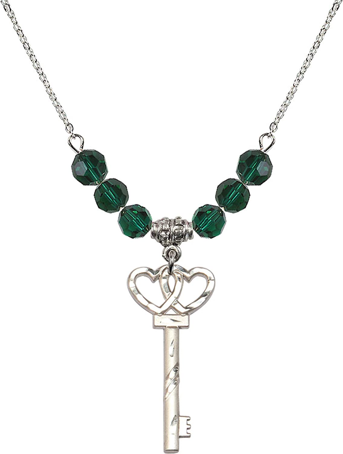 Bonyak Jewelry 18 Inch Rhodium Plated Necklace w// 6mm Green May Birth Month Stone Beads and Small Key w//Double Hearts Charm