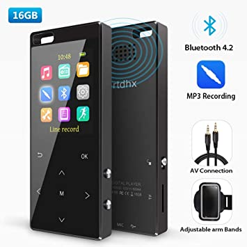 MP3 Player 16GB with bluetooth4 2, MP3 Direct Recording, Portable Lossless  Digital Audio Player with FM Radio/Voice Recorder, Pedometer with an